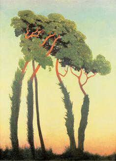 Félix Vallotton - Paysage avec des arbres ou Derniers rayons, 1911