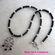 black onyx necklace  Idea for using my extra chandeliers