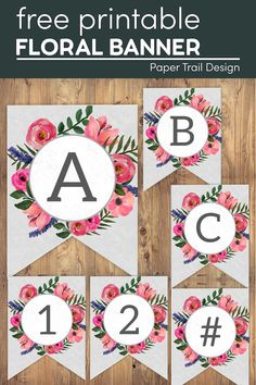 Use this free printable floral banner letters to make a Happy Birthday banner, spring banner, summer banner, or any cute home decor. #papertraildesign #floralbanner #banner #freeprintablebanner #floralbannerprintable #floraldecor Happy Birthday Banner Printable, Printable Birthday Banner, Happy Birthday Banners, Free Printable Banner Letters, 70th Birthday, Birthday Ideas, Birthday Parties, Birthday Photo Booths, First Birthday Photos