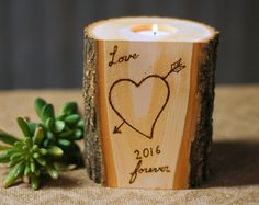 Burned Log Candle Holder Rustic Home Decor Dove by GFTWoodcraft