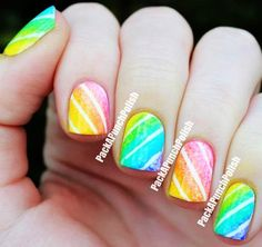 Cute Neon Candy Christmas Nail Art - Colorful Candy Christmas Nail Art