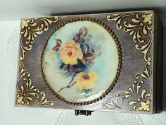 Middle size, Shabby Сhic brown Jewelry Box, Distressed Box, distressed box, trinket box with roses, antique jewelry box, hand decorated box I