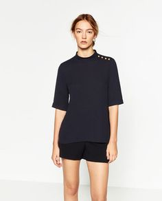 GOLDEN BUTTON TOP-View all-TOPS-WOMAN   ZARA United States