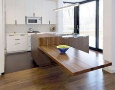 Giant cantilevered kitchen island / table