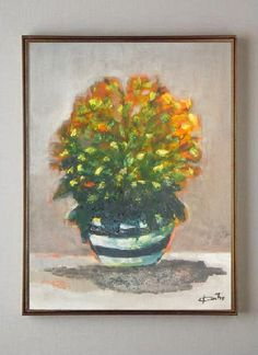 Flowers in Striped Vase  Original Acrylic Painting  by VESNAsART