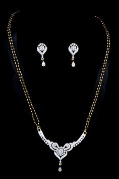 Golden and Off-white Metal and American Diamonds Bridal Mangalsutra