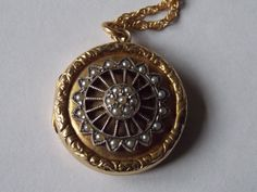Victorian Art Nouveau 9k back/front Seed Pearl Locket on Chain