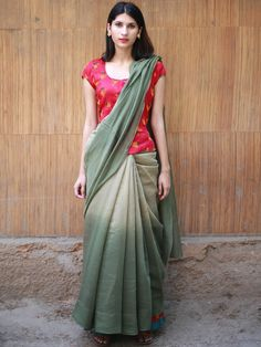 MEASUREMENTS Saree : Length - 6 mtr, Width - Blouse Material : Length - mtr, Width - Description: Cotton chanderi saree with zari embroidery. Kurta Designs, Saree Blouse Designs, Long Blouse, Blouse Neck, Sari Blouse, Simple Sarees, Indian Outfits, Indian Clothes, Indian Dresses