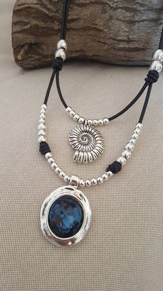 double leather necklace round swarovski crystal silver