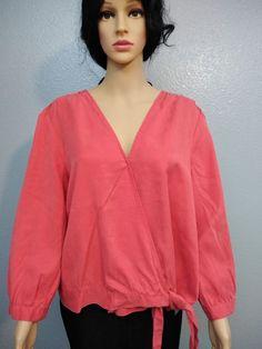c6bc6dba42d106 Women s Velvet Heart coral blouse sz XL v-neck one bottom tencel long  sleeves pit to pit shoulder to hem soft comfortable NWT