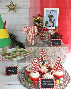 Buddy the Elf Candy Cane Forest Cupcakes Sea Swirly Twirly Gumdrops, Elf movie food treat snack ideas, Christmas holiday movie night party ideas, Chri. Elf Christmas Decorations, Christmas Party Themes, Christmas Cupcakes, Christmas Desserts, Holiday Ideas, Kids Christmas Movies, Christmas Movie Night, Christmas Holidays, Christmas Tree