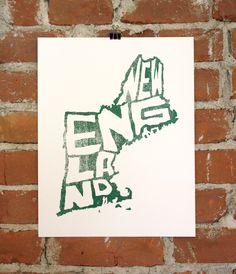 New England- 11x14- Hand-printed Art Print. $24.00, via Etsy.
