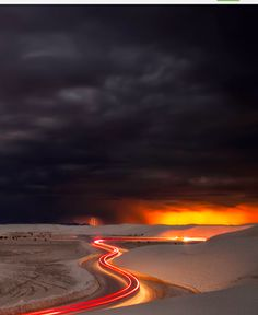 A very long exposure of a sunset at the White Sands National Monument on a stormy night.༺♥༻*ŦƶȠ*༺♥༻