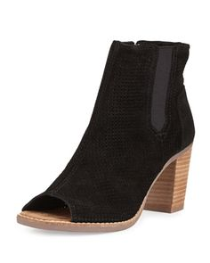 Majorca+Perforated+Suede+Bootie,+Black+by+TOMS+at+Neiman+Marcus.