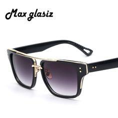 R  29.44 47% de desconto 2018 Nova Cool Men Square Estilo Masculino de Ouro  dos óculos de Sol Do Vintage Mulheres Marca Designer Óculos de Sol UV400  Oculos ... 3c60ed8fcc