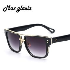 d4da559404c20 Barato 2016 Nova Cool Men Square Estilo Masculino de Ouro dos óculos de Sol  Do Vintage
