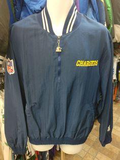 d1bcdb0a2 Vtg 90s SAN DIEGO CHARGERS NFL Starter Windbreaker Pullover Jacket XL