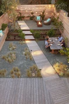 100 ideas for garden design - Modern design for outdoors - Latest decoration ideas-garden design-modern-small-outdoor-garden-path-diagonal-wood-seating area- Small garden ideas are not easy to find. The small garden design is u. Back Gardens, Small Gardens, Outdoor Gardens, Roof Gardens, Garden Paths, Garden Landscaping, Landscaping Ideas, Terrace Garden, Backyard Walkway