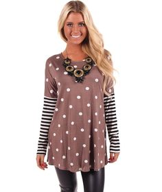 Lime Lush Boutique - Mocha Polka Dots Tunic Top with Striped Sleeve, $39.99 (http://www.limelush.com/mocha-polka-dots-tunic-top-with-striped-sleeve/)