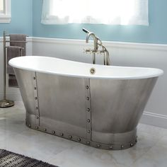 "68"" Brayden Cast Iron Bateau Tub with Riveted Stainless Steel Skirt"