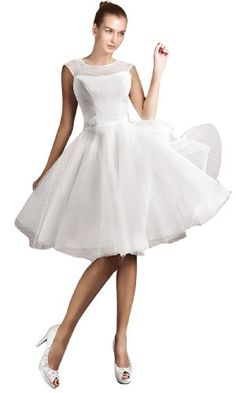 $80.  A little shorter than you wanted, but adorable! *Maillsa Bateau Tulle Short Wedding Dresses,c0167 (16, White) Maillsa,http://www.amazon.com/dp/B00GSMWZSE/ref=cm_sw_r_pi_dp_M.zDtb1922TE4QJX