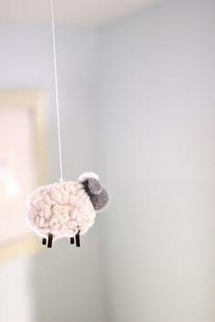 sheep mobile (Pottery Barn Kids) seen on Jenny Steffens Hobick: Emma's Nursery Sheep Mobile, Baby Mobile, Mobiles, Light Blue Nursery, Diy Bebe, Idee Diy, Nursery Inspiration, Future Baby, Baby Love