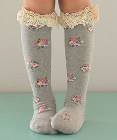Trish Scully Child Gray Floral Boot Socks | zulily