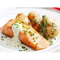 K - Great roast potatoes - Crispy skin salmon with roasted baby potatoes recipe - By Woman's Day