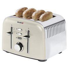 Breville Cream Aurora 4 Slice Toaster | Dunelm