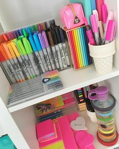 123 easy and cheap diy home office organization ideas -page 13 > Homemytri. School Supplies Organization, Cute School Supplies, Home Office Organization, Office Supplies, Organization Ideas, Art Supplies, Organizing, Stationary Store, Stationary School