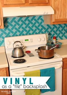 Use removable #vinyl as a backsplash #tile in your #kitchen....interesting.