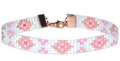 'Fresh Morning' beautifull flower bracelet in pink, blue, rose gold & white! ♡ www.noanora.nl | € 19,95
