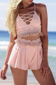 Pink Cami Crop Top and Tassels Shorts Suit