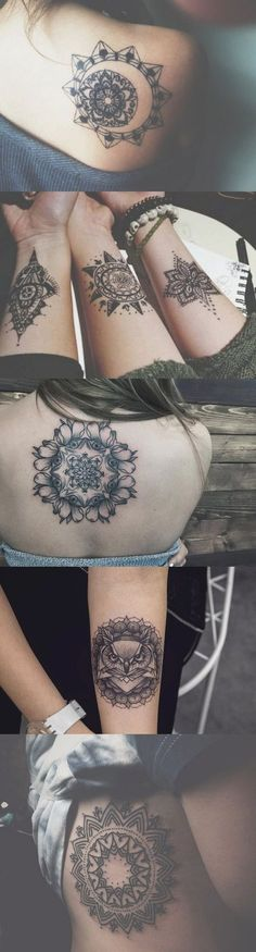 Large Geometric Mandala Tattoo Ideas for Women - Small Lotus Wrist Tatt - Black Henna Rib Tat - Owl Back Tatouage - MyBodiArt.com #TattooIdeasQuote