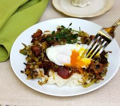 Cream of Rice with Bacon, Leeks and Poached Eggs - Savor the Best