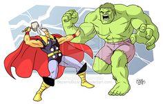 Thor and Hulk by BezerroBizarro.deviantart.com on @deviantART