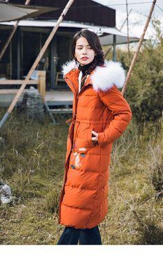 5ed2b0a44c750 2018 Winter New Arrival Hood Fur Collar Show Waist Keep Warm Fashion Wind  Protection Down Coat