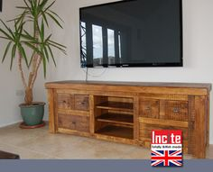 Rustic Chunky Plank Pine Media Cabinet Furniture Wooden British Handmade