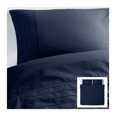 IKEA - ALVINE STRÅ, Duvet cover and pillowcase. $29 for twin. The combed cotton gives the bed linen an extra smooth and even surface which feels soft against your skin.</t><t>Extra soft and durable quality since the bedlinen is densely woven from fine yarn.</t><t>The stitched pleats add a soft texture and variation to the top side.</t><t>Concealed snaps keep the comforter in place.