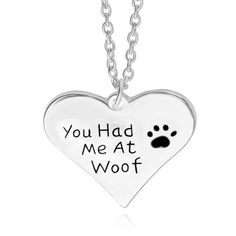 """Pet Heart Necklace""""You had me at woof"""" Dog Paw Print Letter pendant necklace"""