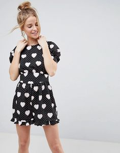 3f478f4ccf ASOS Tea Playsuit in Spot and Heart Print Grunge Fashion