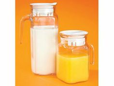 Amazon.com: Pitcher Pair-2 Refrigerator Carafes-Perfect for Milk or Juice-Quality Glass-Made in Italy-Plastic Lids-New-Gift Box: Home & Kitchen