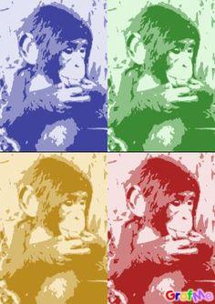 Pop art singe bleu, vert, jaune, rouge .