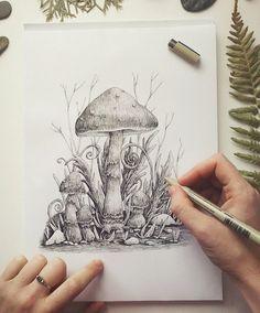 Items similar to Print Vintage Mushrooms illustration - eco paper on Etsy Mushroom Drawing, Mushroom Art, Nature Sketch, Nature Drawing, Ink Pen Drawings, Drawing Sketches, Hippie Art, Pen Art, Art Sketchbook