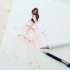 """""""Late night illustrating this gorgeous @giambattistapr gown #fashionillustration #instaartist #instaart #melsysillustrations #melsys #illustration…"""""""