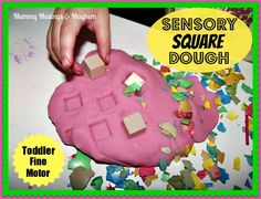 An easy activity that provides not only a sensory experience but also challenges fine motor skills and encourages shape recognition! Microwave playdough recipe included in the post!