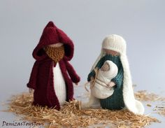 Christmas dolls: Mary, Joseph and Jesus - pdf knitting patterns (knitted round). Christmas Ornament. Waldorf inspired dolls.