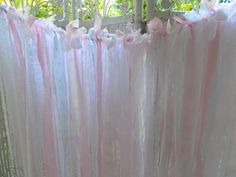 Fabric garland made with white lace, white eyelet, pink organza and cotton fabric.  Garland is 3 feet in length and individual strands hang 3 feet.  Garland can be customized for length or colors!  Wedding backdrop, Baby Shower, Nursery, Photo prop, bridal shower