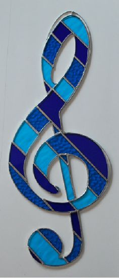 Stained glass musical note treble clef suncatcher by ManemannArt