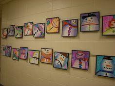 """Snowmen paintings to accompany """"Snowmen at Night"""""""